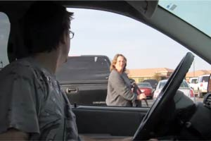 Guy pulls up to random people and starts talking nonsense