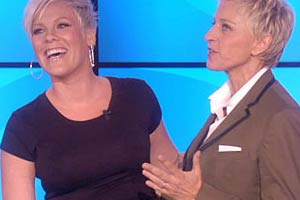 Ellen gets a surprise birthday present from Pink