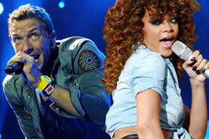 Chris Martin and Rihanna