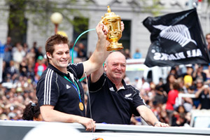 All Blacks victory parade down Queen Street, Auckland