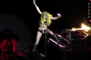 Lady Gaga falls hard during show