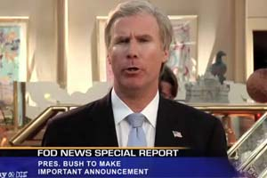 President Bush (Will Ferrell) reacts to Osama's death