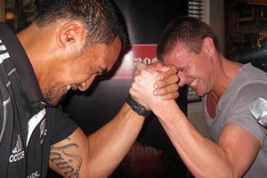 Dom vs All Black Jerome Kaino - arm wrestle battle!