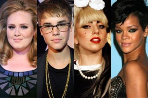 Adele, Bieber, Gaga and Rihanna have all scored Guinness World Records