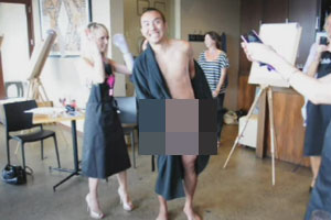 Chang poses nude for the Man Made Wedding hen's night!
