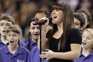 Kelly Clarkson performs at the Super Bowl