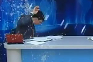 TV presenter gets egged & yoghurted by protestors live on air
