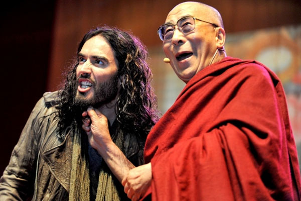 Russell Brand hangs out with the Dalai Lama