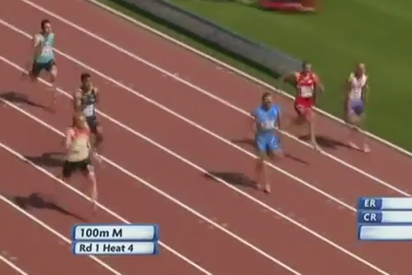 Track Runner breaks his leg during 100m sprint - WARNING: Not for the squeamish
