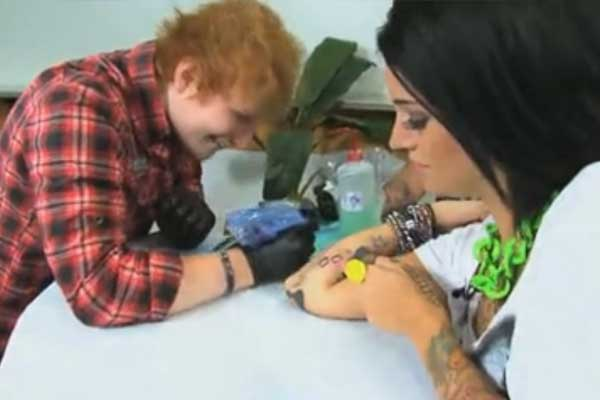 Ed Sheeran tattoos a TV presenter