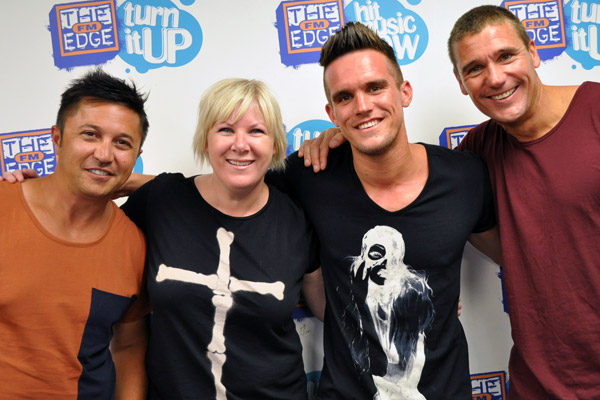 Gaz from Geordie Shore in studio with Jay-Jay, Mike & Dom