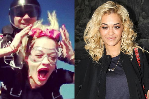 Rita Ora skydives into 2013