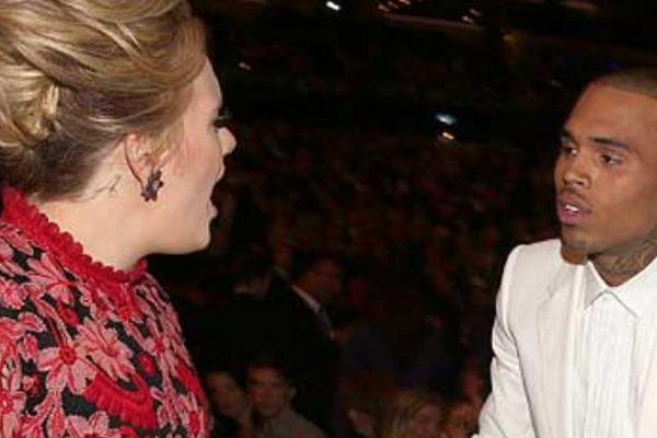 Adele says she didn't tell Chris Brown off at the Grammys