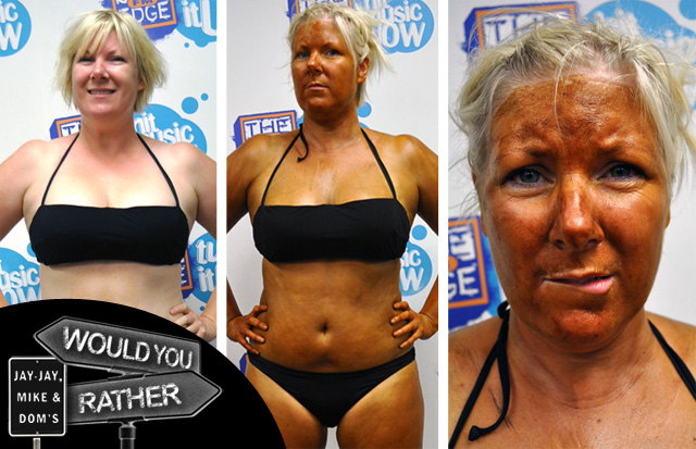 Jay-Jay gets tanned for 'Would You Rather?' (Warning: Contains nudity)