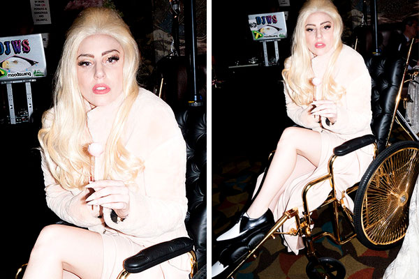 Lady Gaga recovers in 24-karat wheelchair