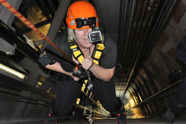 Jay-Jay abseils down the inside of the Sky Tower