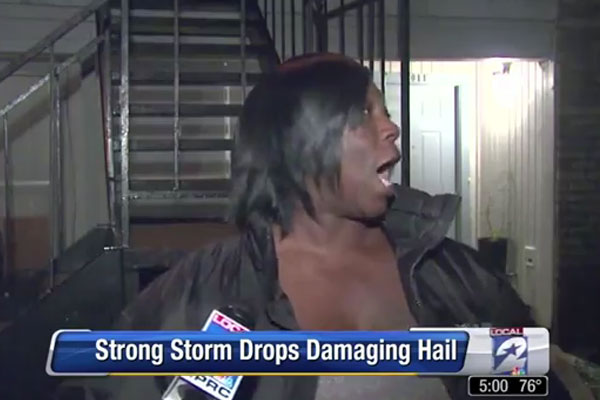 KABOOYOW! KAPOOYOW! - funny reaction to hail storm on the news