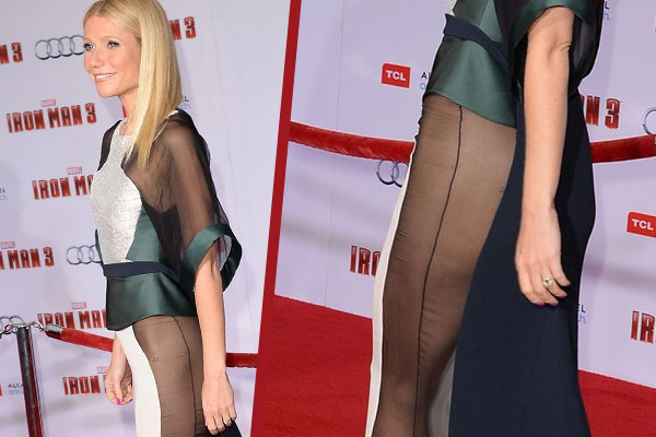 Gwyneth Paltrow goes commando at Iron Man 3 premiere