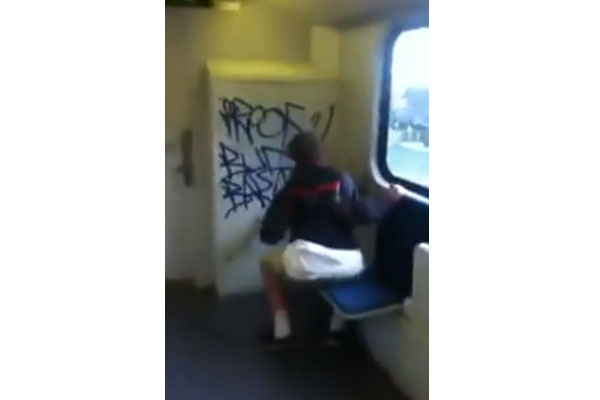 Teens caught tagging on a train