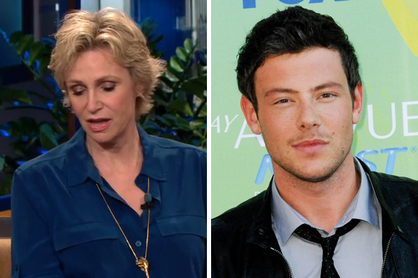 Sue Sylvester holds back tears as she talks about Cory Monteith