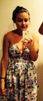 I'm wearing my favourite girly girly dress here. I brought it in Gold Coast when I went there for a holiday and wore it to my first every trip to the casino ! Great night lots of fun.