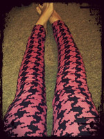 """My favorite jeans! Hot pink with black houndstooth. I love them as they fit me perfectly. After having a child my tummy still has the """"pooch"""" and these hold me in and make me feel glamorous. Better yet - these were sent to me from the U.K and I haven't been able to find anything similar in NZ so taking care of them is my main priority!"""