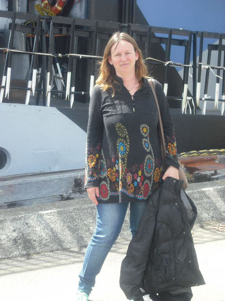 This photo was taken alongside the anti-whaling ship belonging to the Sea Shepherds prior to their Operation Zero Tolerance campaign in Antarctic waters in 2012. The flowers on this tunic reflect the unity I feel for the cause they continue to fight.