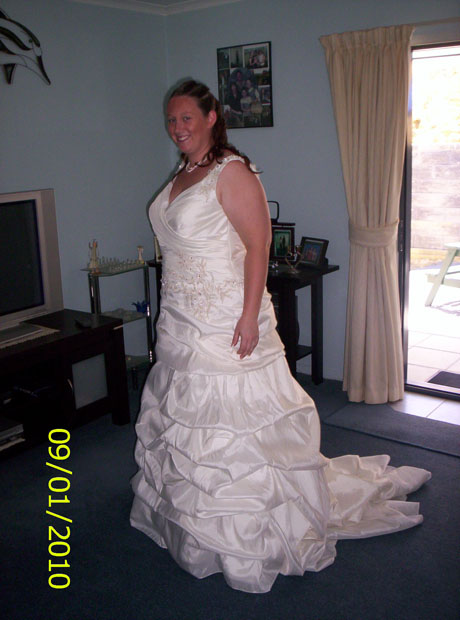 My beautiful Venus Wedding Gown. We found this in Christchurch and had it re-sized there and shipped up to us in Whangarei. The best day of a girls life - However, also the most stressful. The dress failed to arrive - due to the unanticipated Christmas rush until 5 days before the wedding... Yes that's right 5 days!!!!<br />Nightmare really....... But all's well that ends well, 3 years on and our marriage is wonderful and a beautiful daughter has joined our family!