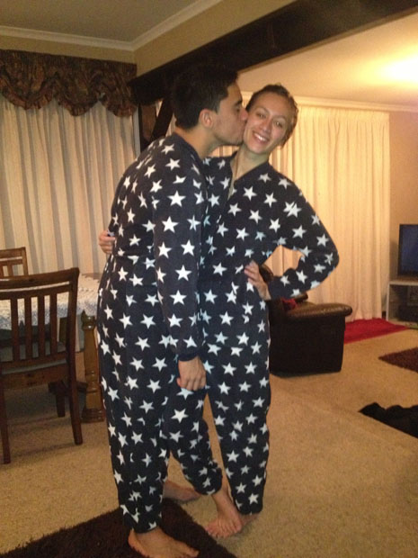 My boyfriend and I have matching onesies that we bought on our one year anniversary. He is currently commencing studies in Hamilton. Wearing our onesies helps us to feel closer to one another when we're a part and keeps us warm and comfortable on lonely nights.