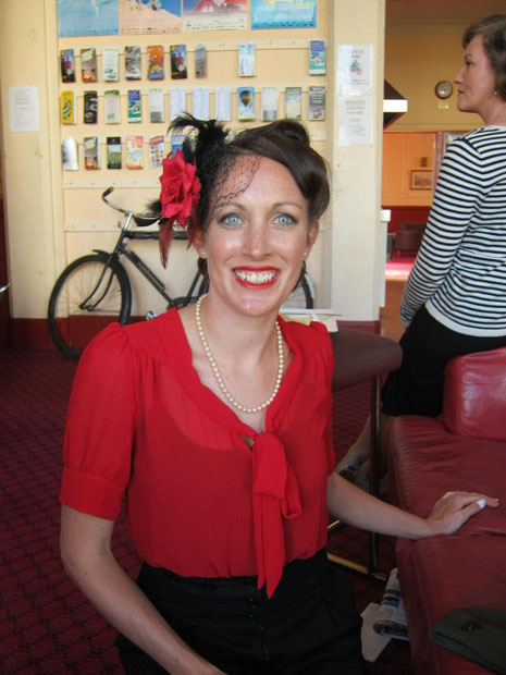 The red blouse I'm wearing is by NZ designer Bettie Monroe. I won this through a facebook comp by wearing another of their pieces. I love this blouse and wear it every week, both to work and for dancing. The pic is taken at the Art Deco fest in Napier this year.
