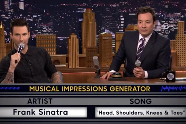 Adam Levine and Jimmy Fallon play Wheel of Musical Impressions