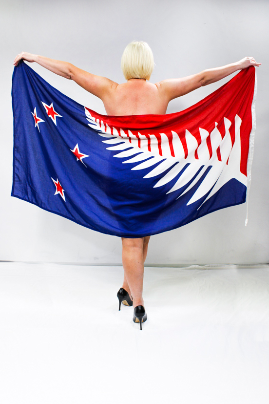 Jay-Jay models the NZ flag options completely NAKED