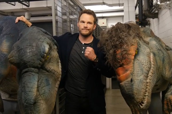 Chris Pratt gets pranked with dinosaurs and his reaction is hilarious