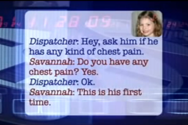 This 5 year old girl saves her dad's life in a hilarious emergency phone call