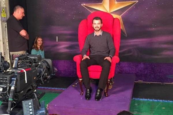 GSC talk to fellow kiwi Brad Baxter after taking on Graham Norton's red chair
