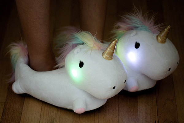 These magical unicorn slippers light up as you walk