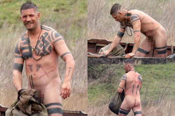 Tom Hardy strips completely NAKED on set for new role