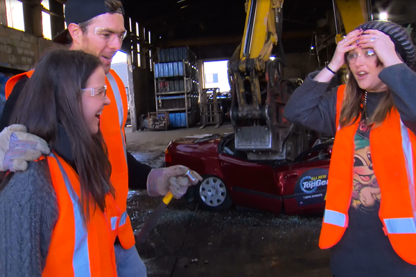 Sharyn and Clint give away Guy's car and then crush it!