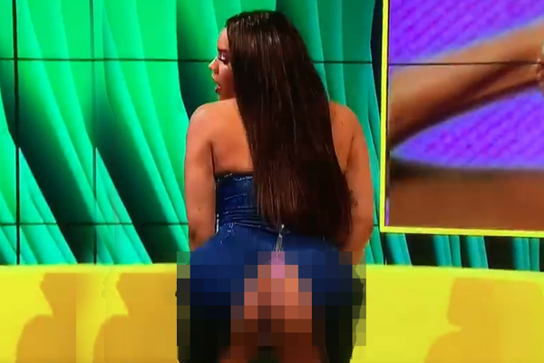 This chick totally just showed her entire ASS on live TV in epic twerking fail!