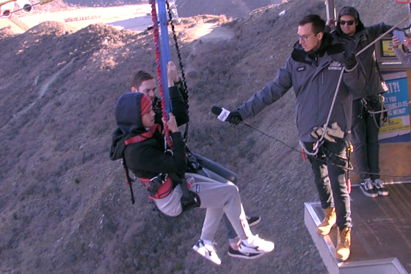 Marty and Clint fall 160 METRES on the Nevis Swing!